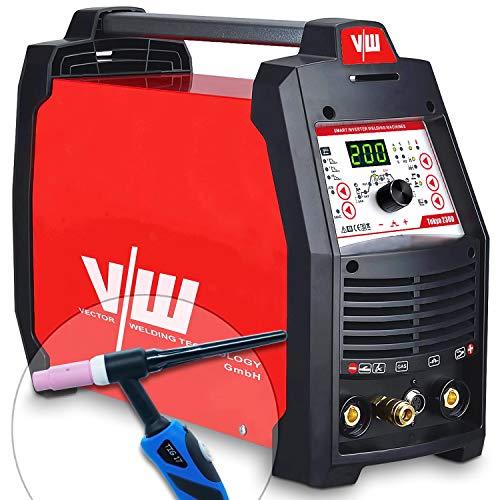 WIG Schweißgerät mit Elektrodenschweißfunktion 200 Ampere | HF-Zündung - Pulsfunktion - 2 und 4 Takt - Jobspeicher -...