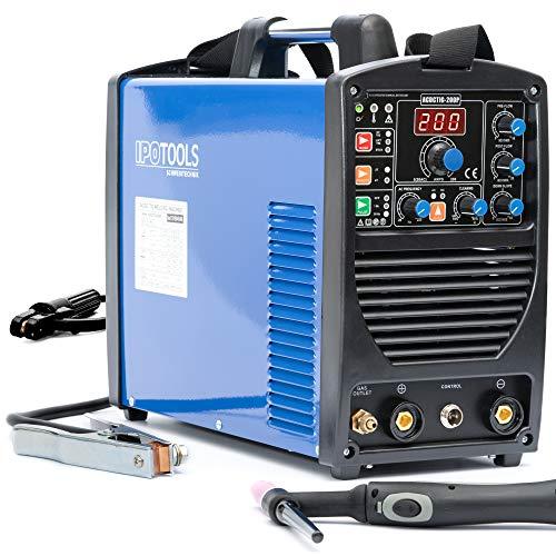 IPOTOOLS ACDCTIG 200P WIG Schweißgerät AC DC Schweissgerät mit 200 Amper Volldigitales Inverterschweißgerät Inkl...